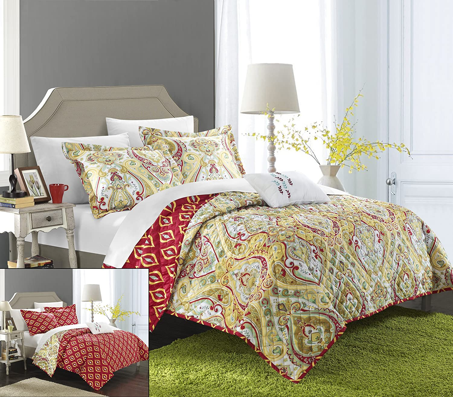Chic Home 4 Piece Paisley Global Inspired Vedara Reversible Quilt, King, Brown QS3353-AN