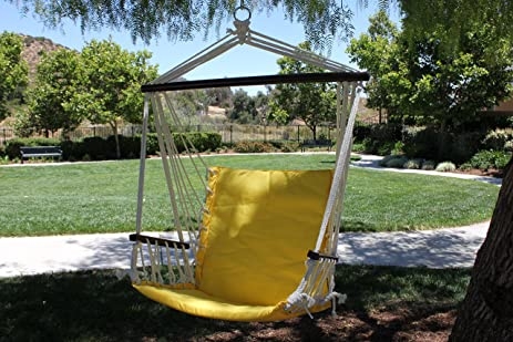 G3Elite Hanging Hammock Chair Outdoor Swing, Padded Seat And Back, Strong  Durable (Yellow