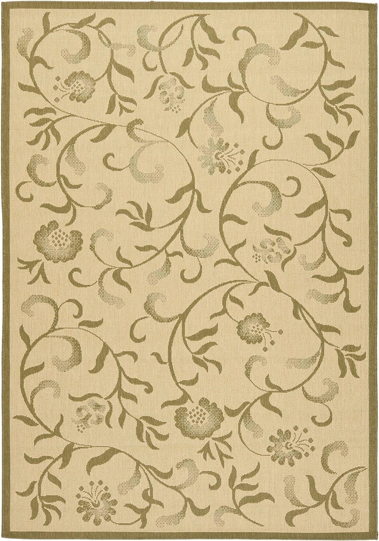 """Safavieh Martha Stewart Collection MSR4251-14 Cream and Green Runner Rug (2'7"""" x 5')"""