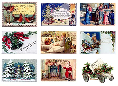 Christmas Toppers For Card Making.9 Card Toppers Vintage Christmas Embellishments For