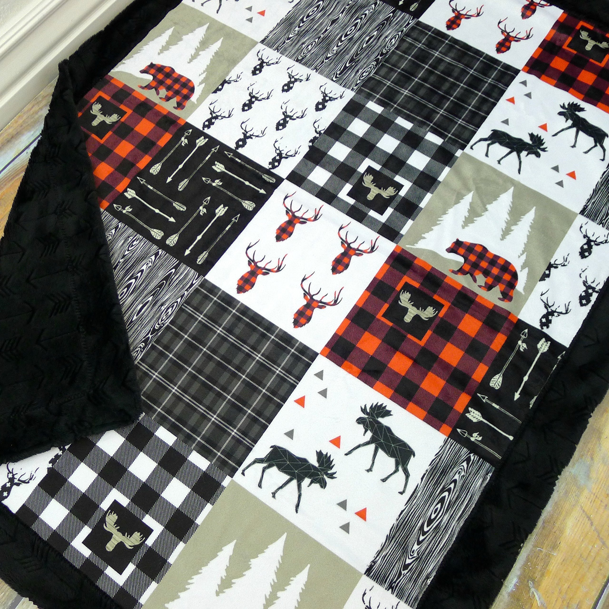 Baby Blanket with Double Minky - Lumberjack Baby Blanket with Buffalo Plaid, Moose, and Bears