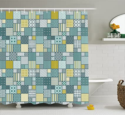 Lunarable Patchwork Shower Curtain Squares With Dotted Pattern Checkered Grid Style Geometric Art Design
