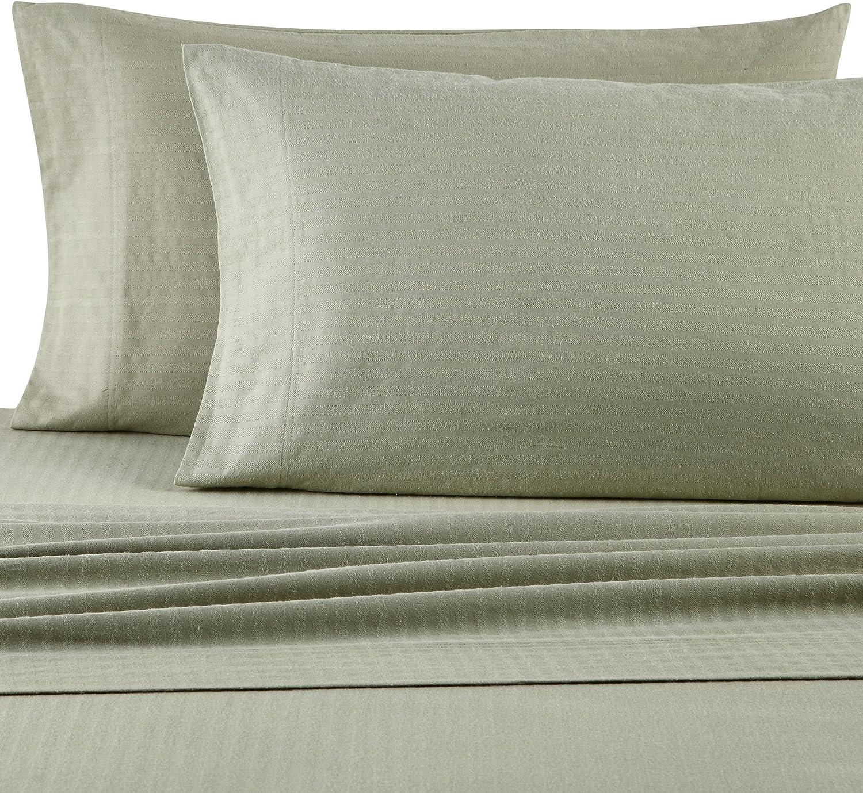 Casual Living Heavyweight Damask Stripe Flannel Sheet Set, Full, Sage