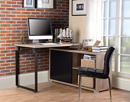 Homestar Z1710041 Cabinet Home Office Desk, Reclaimed Wood Finish