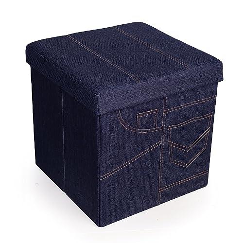 Danya B Folding Storage Ottoman with Pockets