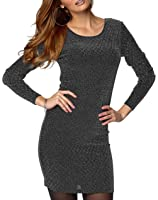 Ladies UK Plus Size Black and Silver Stretchy Dress or Long Top