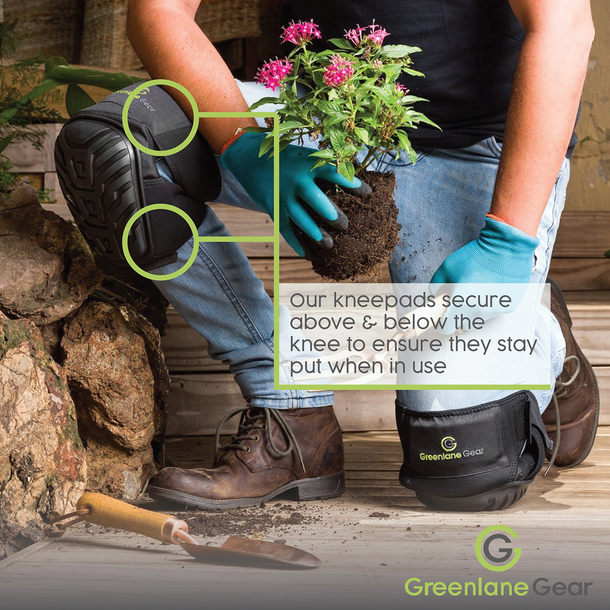 Gel Knee Pads for work designed to prevent slipping/sliding for gardening, construction, floor, tiling - Industrial grade heavy duty flexible kneepad- soft kneepads fits all (small-large) men/women by Greenlane Gear (Image #4)