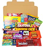 American Candy Box Hamper | Retro Sweets and Chocolate Bar Gift Box Selection | Assortment includes Chupa Chups, Reeses, Skittles, Nerds, Hersheys | Value Pack 19 items in Retro Sweets Box