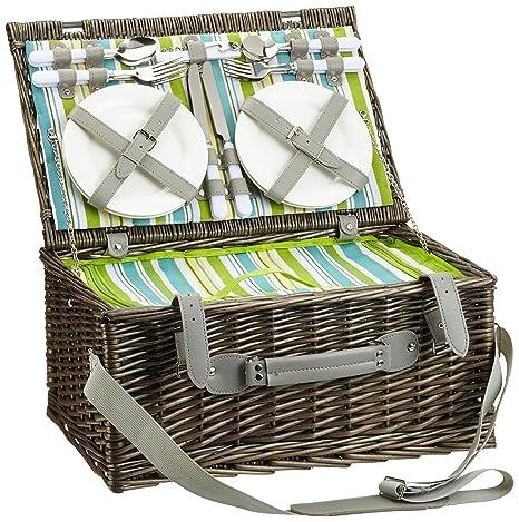 Cilio Ascona - Cesta de picnic con cubiertos, platos y otros accesorios