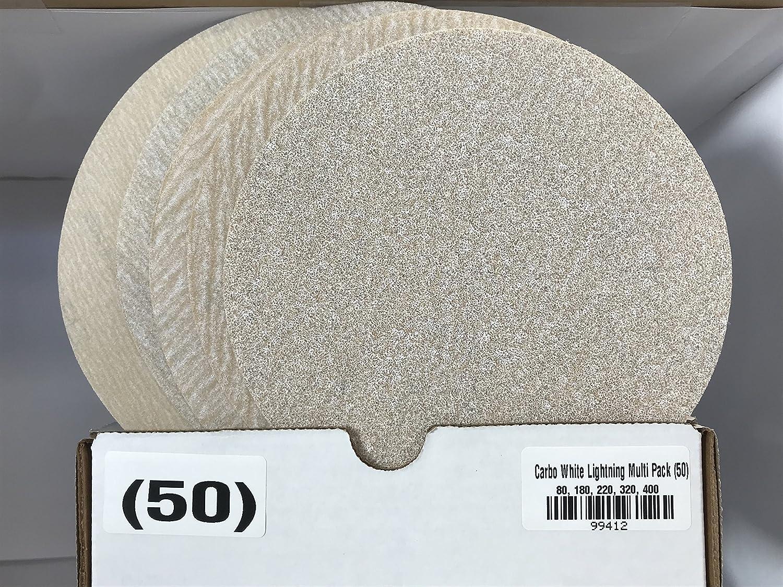 Carborundum 99412 6' Velcro Sand Paper Discs Multi-Pack (80, 180, 220, 320, 400) Grit (50pk) Carborundum Abrasives