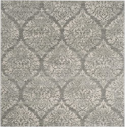 Safavieh Evoke Collection EVK268S Damask Ogee Grey and Silver Square Area Rug 6 7 Square