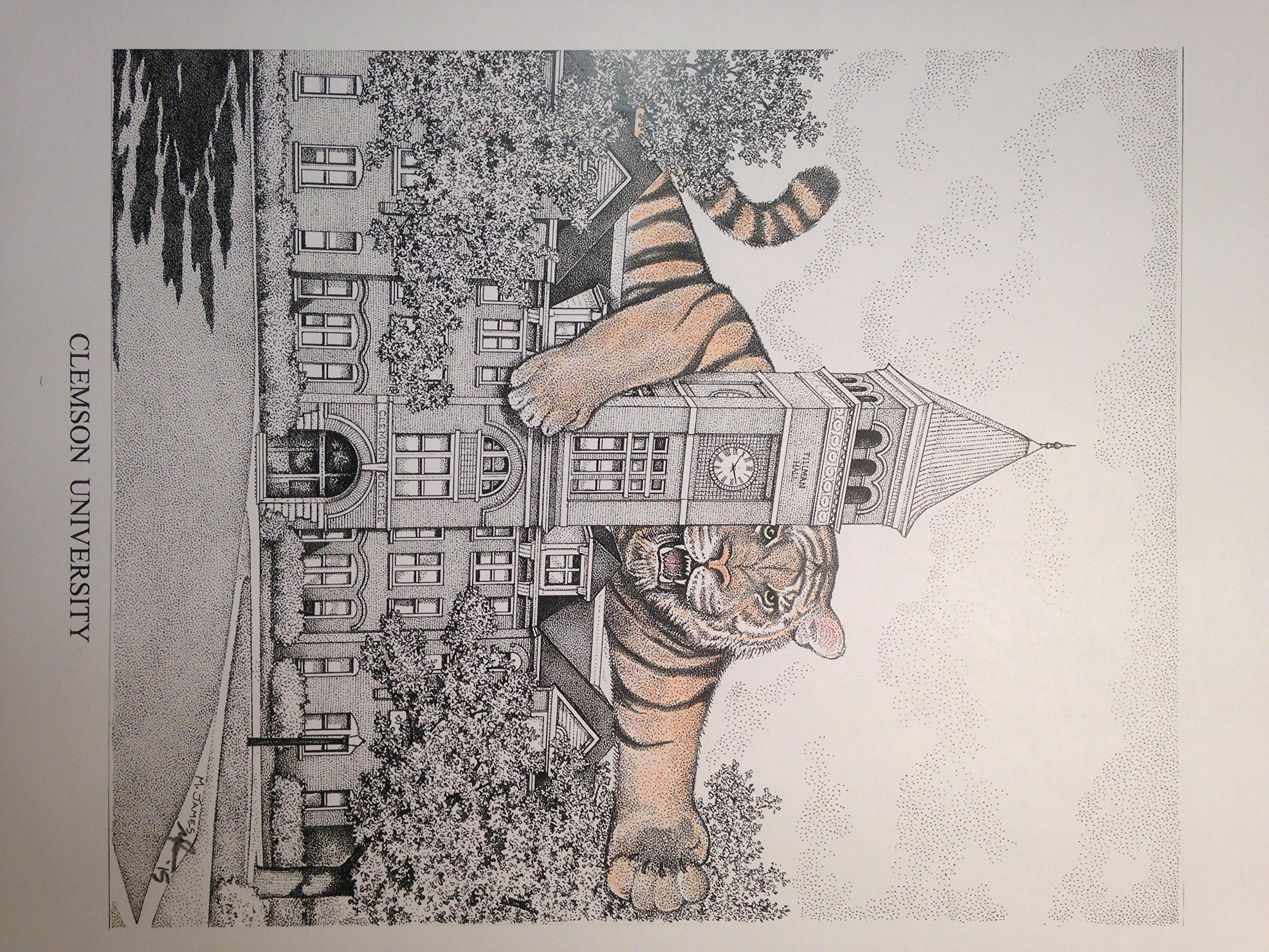 Clemson Tillman Hall pen and ink 11''x14'' print