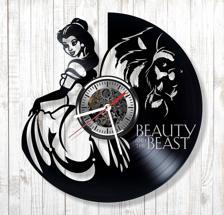 Reloj de pared de vinilo de la Bella y la Bestia, hecho a mano, decoración de adorno y idea de regalo para cualquier ocasión: Amazon.es: Hogar