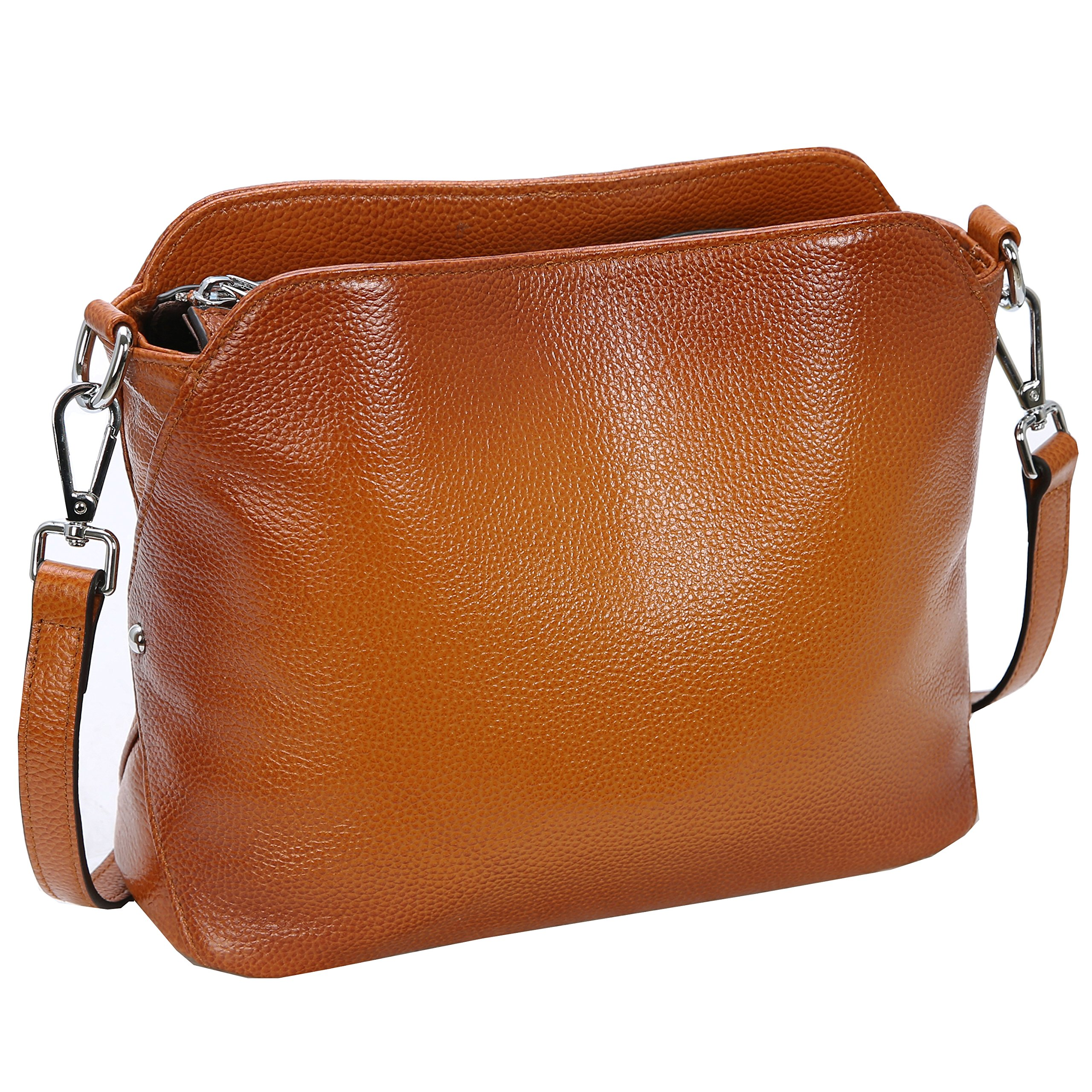 Kenoor Leather Handbags Small Shoulder Bag Crossbody Purse Hobo Clutch for Women (Sorrel)