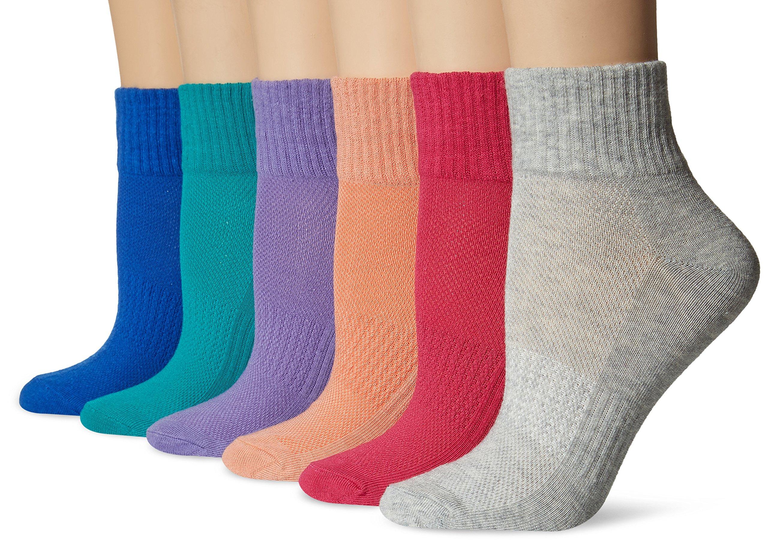 Keds Women's 6 Pack Mesh Top Quarter Socks, Purple Paisley, 9-11