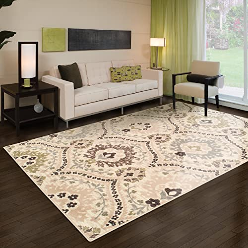 Superior Designer Augusta Collection Area Rug, 8mm Pile Height with Jute Backing, Beautiful Floral Scalloped Pattern, Anti-Static, Water-Repellent Rugs – Beige, 8 x 10 Rug