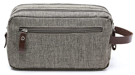 Lumglo Black Dual Compartments with Handle Mens Travel Toiletry Bag Dopp Kit