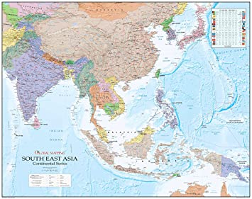 Continental Series South East Asia Paper Wall Map Global - Continental global