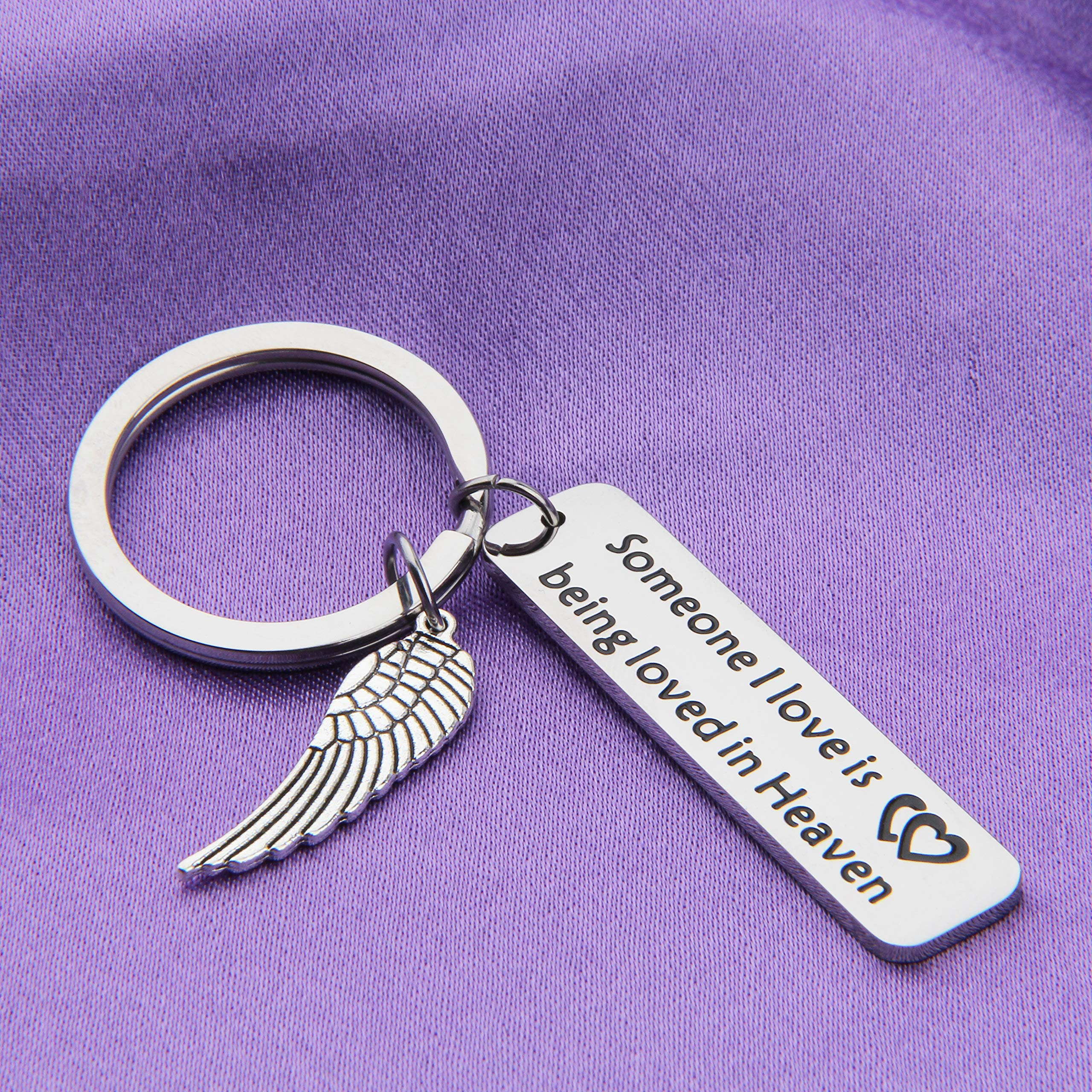 MAOFAED Memorial Keychain Someone I Love Is Being Loved In Heaven Sympathy Gift Loss of Loved One Memorial Gift (Be Loved in Heaven Memorial Gift) by MAOFAED (Image #5)