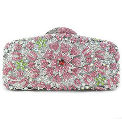 9645183929 Party Fairy Box Womens Flower Evening Clutch with Rhinestones Bling Crystal  Cocktail Bag Wedding Purse (
