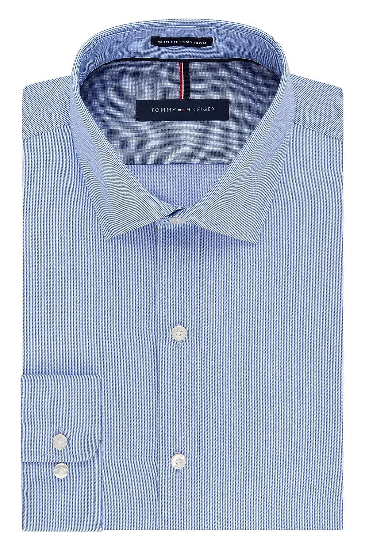 Tommy Hilfiger Men\'s Non Iron Slim Fit Stripe Spread Collar Dress ...
