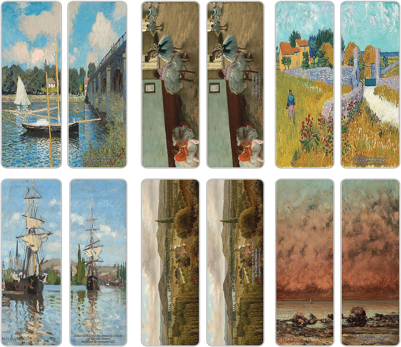 Creanoso Classical Artistic Famous Arts Series 4 Bookmarks (12-Pack) – Claude Monet, Théodore Rousseau, Vincent van Gogh, Edgar Degas – Great Art Reading Collection Pack for Men, Women, Teens, Artists