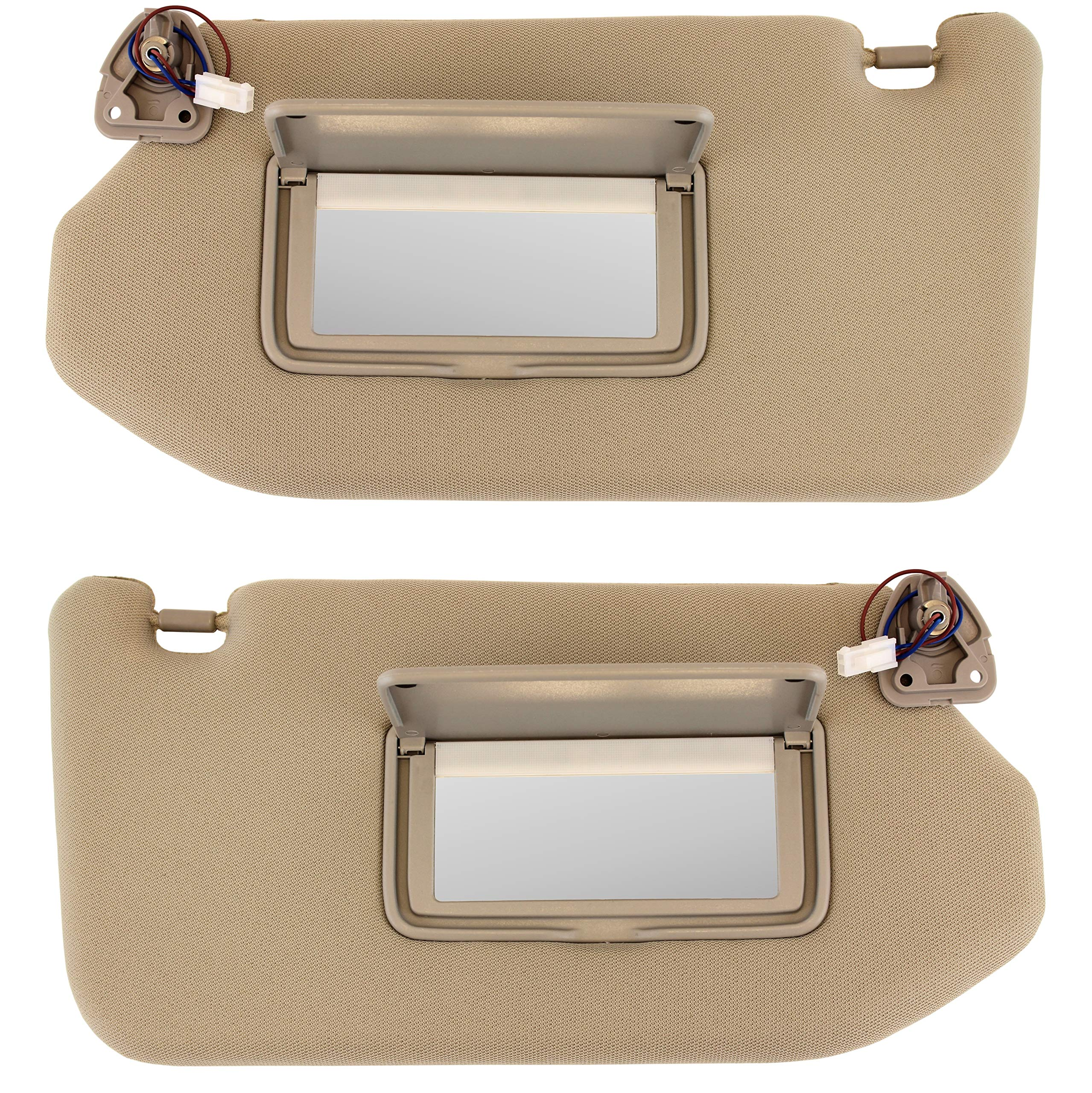 IAMAUTO 61776 Left Driver and Right Passenger TAN Sun Visor Set with Lamp for 2013 2014 2015 2016 2017 2018 Nissan Pathfinder and 2014-2017 Infiniti QX60