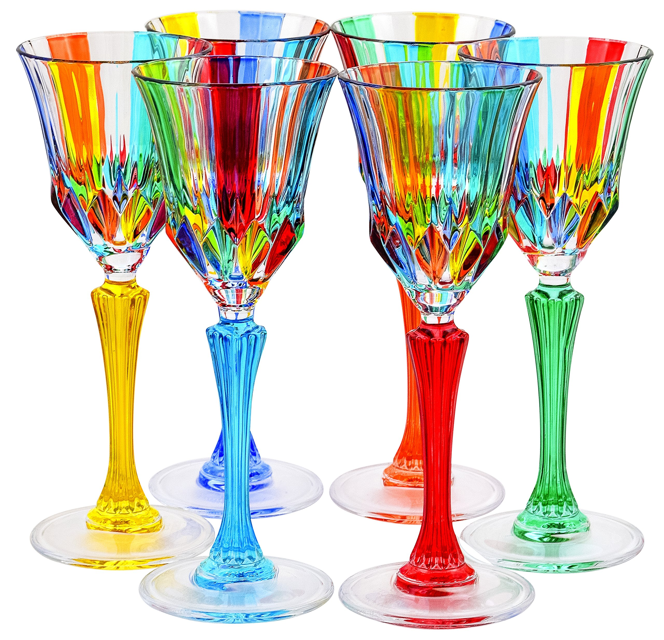 CALICE ADAGIO Glasses Liquor Crystal Hand Painted Traditional Technique Colors Venice-Multi-colored