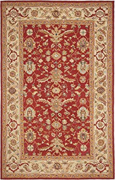 Amazon Com Safavieh Chelsea Collection Hk751a Hand Hooked French Country Wool Area Rug 6 X 9 Red Ivory Furniture Decor