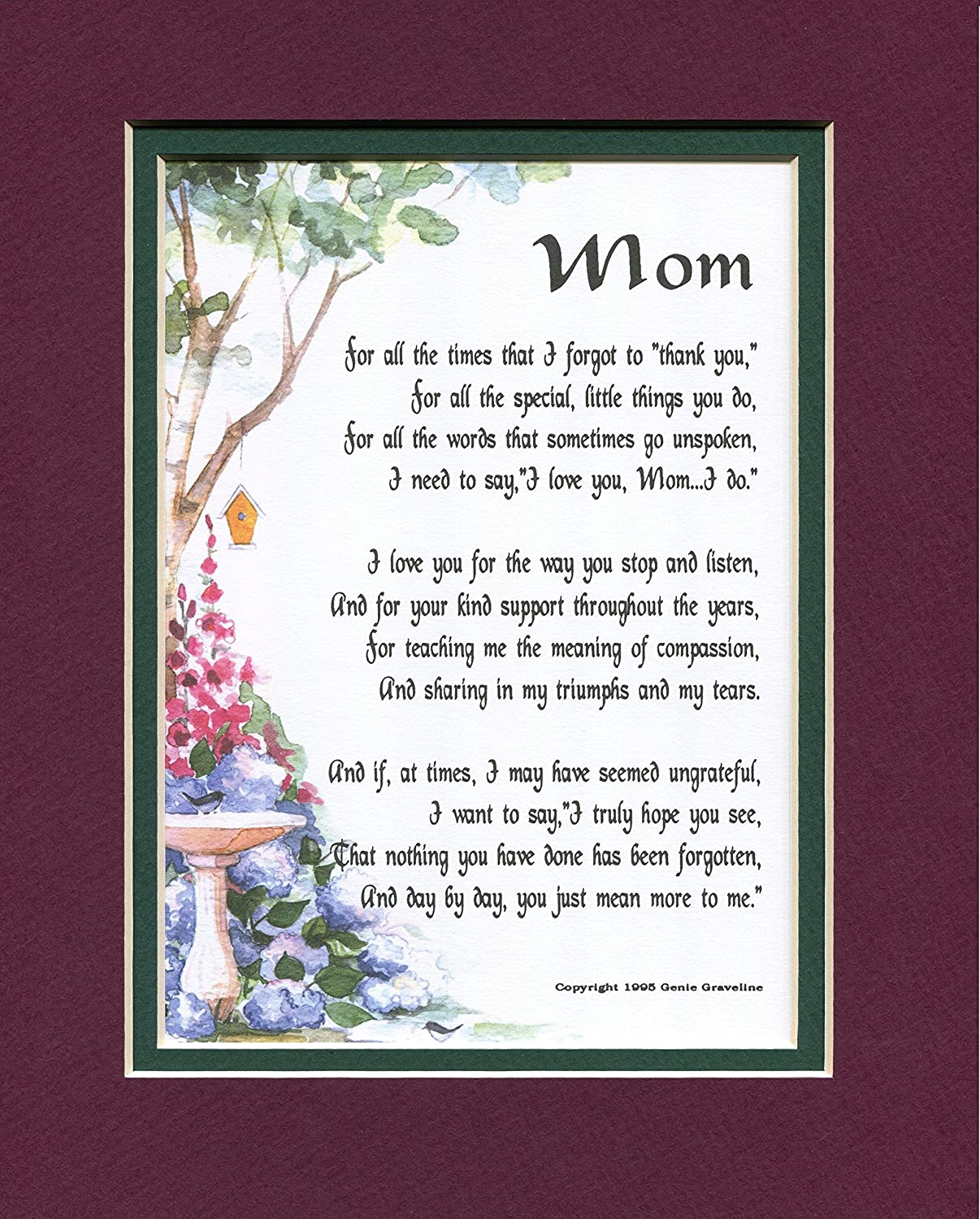 Amazon Mom A Mother s Day Present Poem Birthday Gift For A Mother 03 More Color Options Home & Kitchen