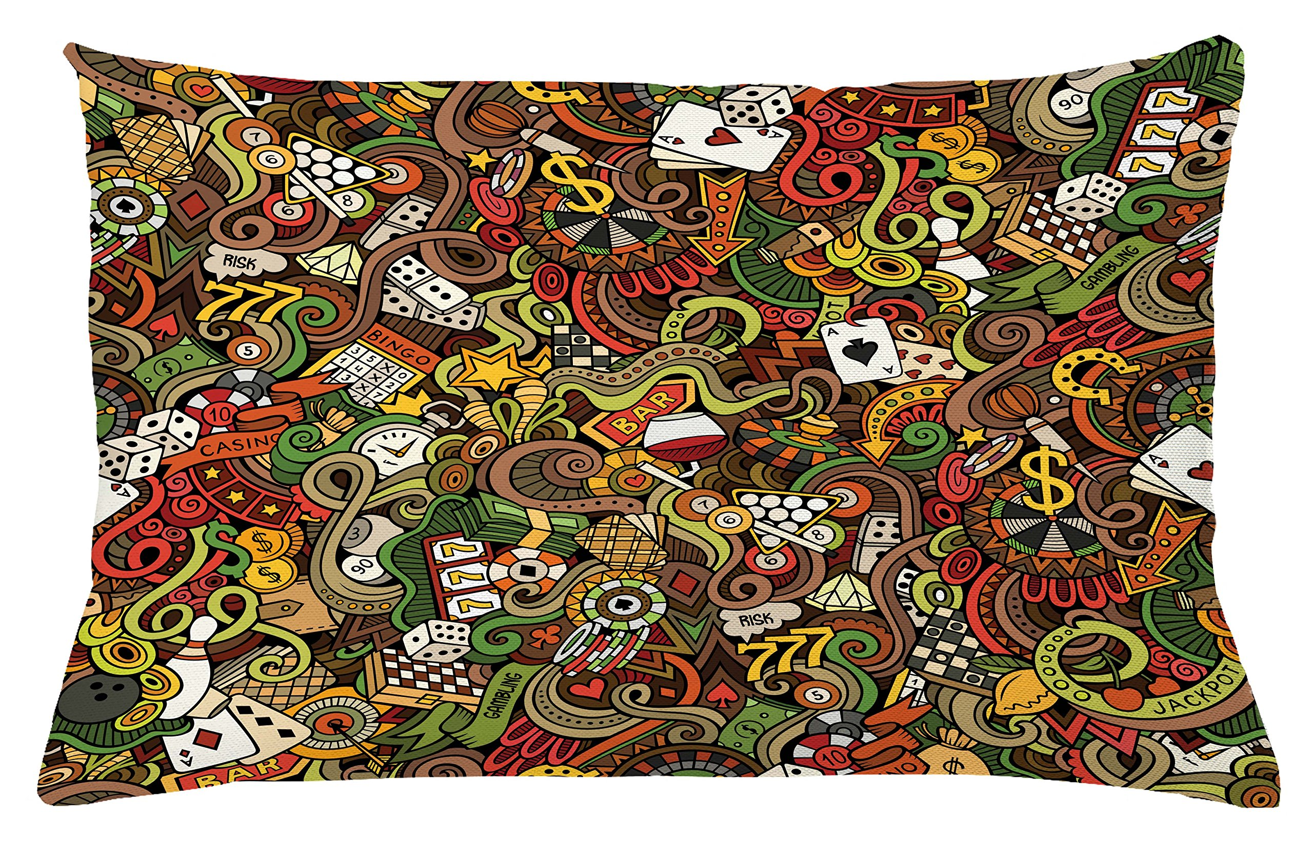 Ambesonne Casino Throw Pillow Cushion Cover, Doodles Style Artwork of Bingo and Cards Excitement Checkers King Tambourine Vegas, Decorative Accent Pillow Case, 26 W X 16 L inches, Multicolor