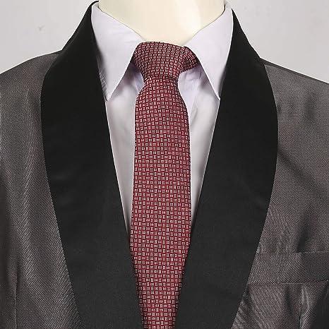 LANSILK Men Business Silk Tie - Caja de de corbata de seda delgada de hombre, gemelos y pañuelo, caja de regalo, 100% seda