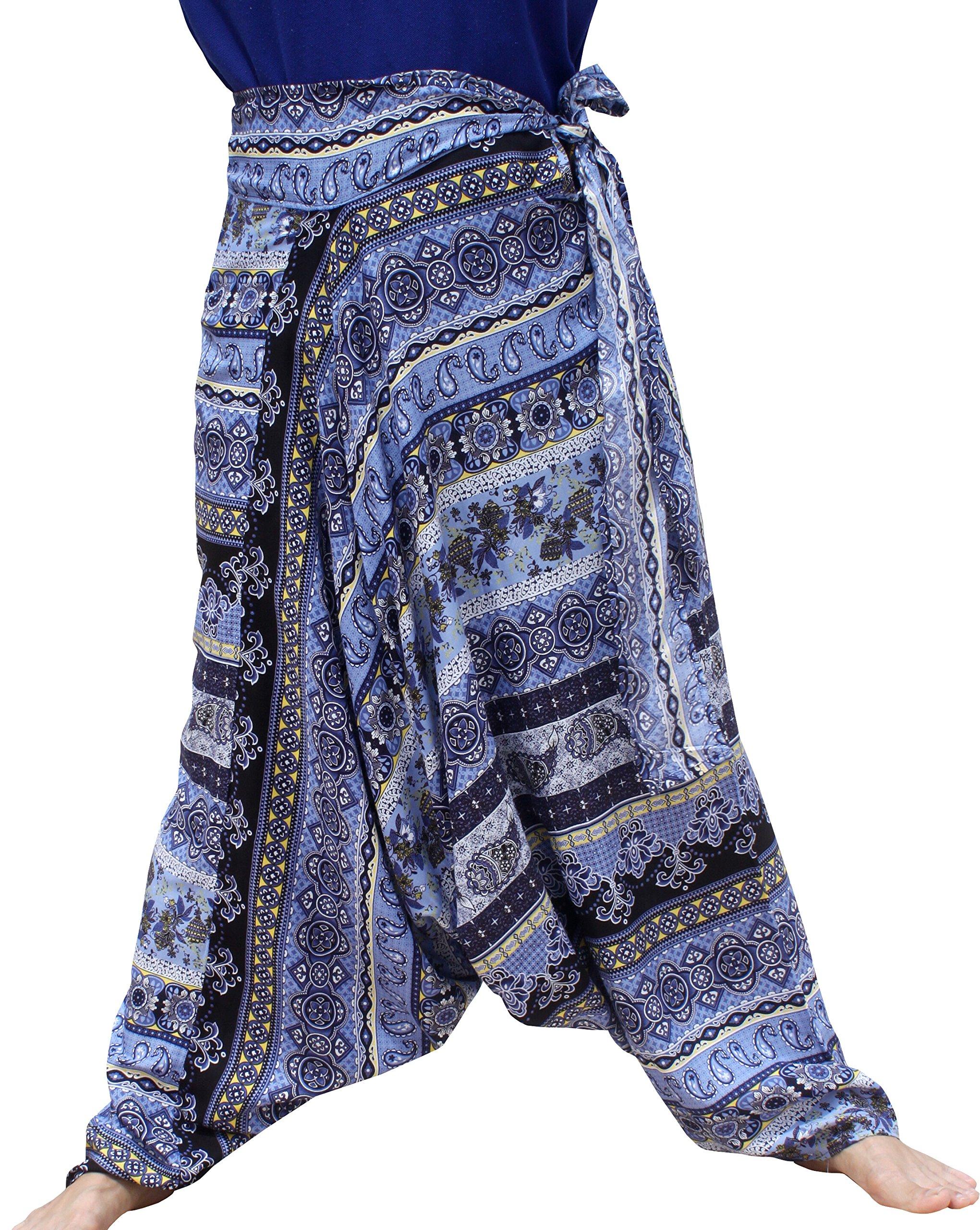 Raan Pah Muang Mixed Art Baggy Side Tie Mao Hmong Hill Tribe Harem Pants, Small, Paisley - Dark Blue by Raan Pah Muang