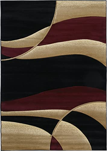 United Weavers Contours Collection Avalon 2 7 x 4 2 Heavyweight Heatset Olefin Rug, Burgundy