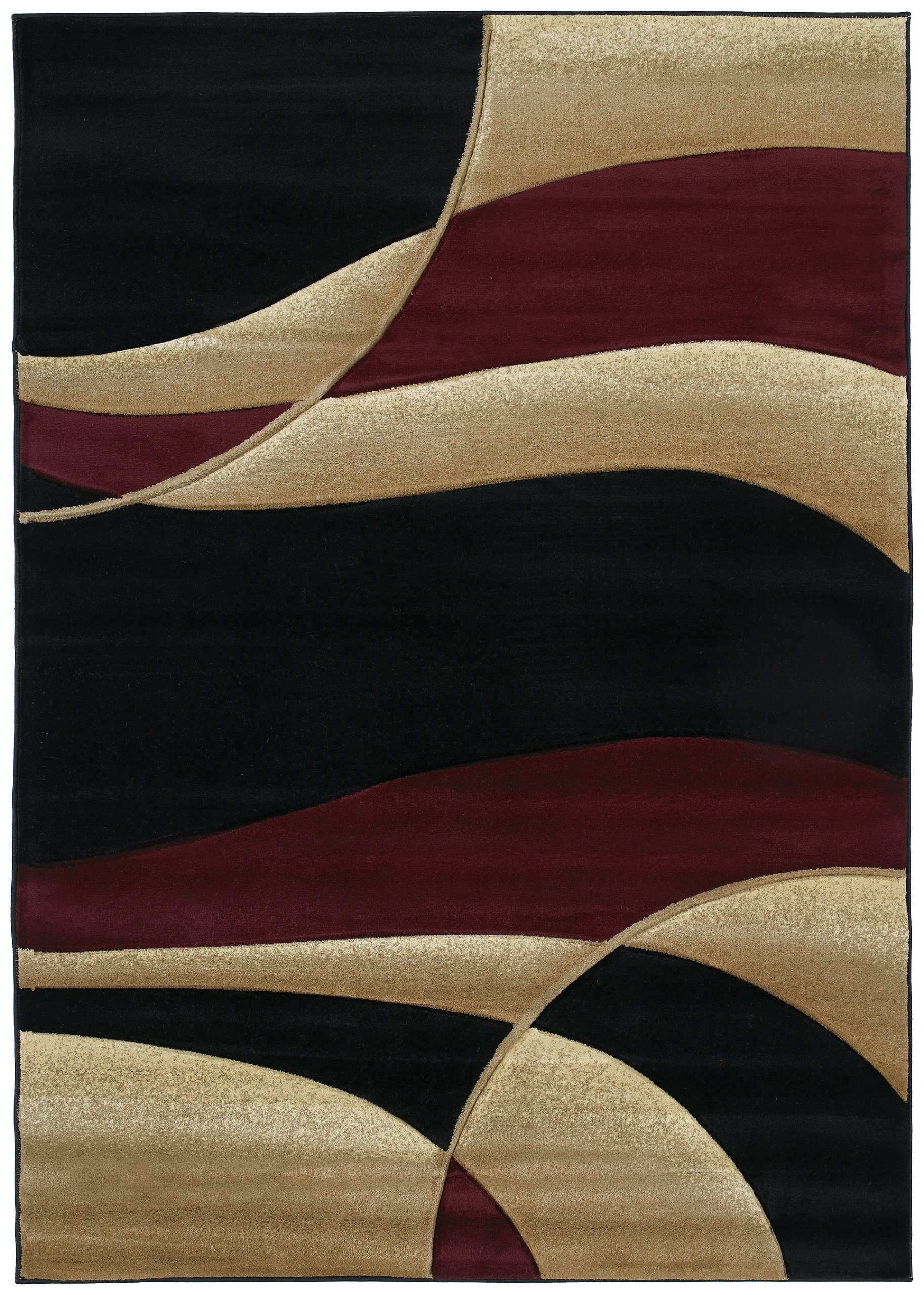 United Weavers Contours Collection Avalon 5-Foot 3-inch by 7-Feet 6-inch Heavyweight Heatset Olefin Rug, Burgundy