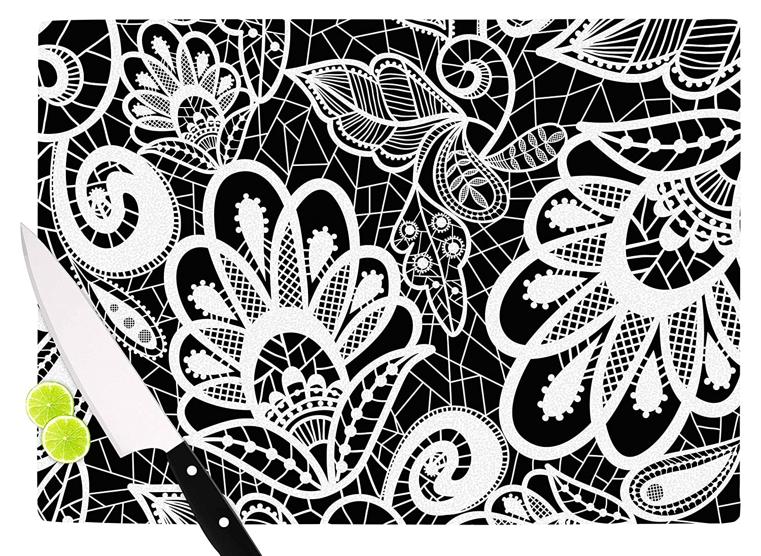 KESS InHouse MF1013ACB01 Petit GriffinFloral Lace BW Abstract Modern Cutting Board 11.5 x 8.25 Multi