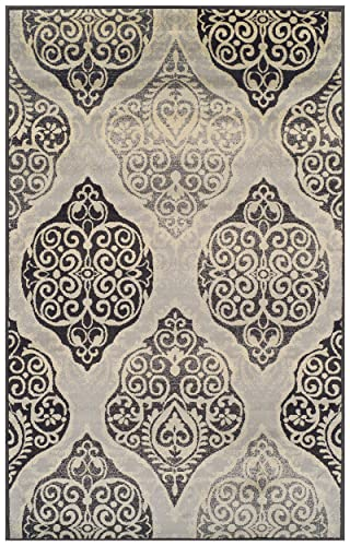 Superior Designer Amherst Collection Area Rug, 10mm Pile Height with Jute Backing, Scrolling Damask Medallion Pattern, Anti-Static, Water-Repellent Rugs – Grey, 4 x 6 Rug