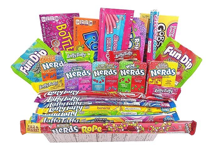 Gran Cesta Americana caramelos Wonka | Golosinas y barra de caramelos de selección en caja regalo