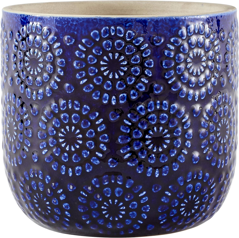 Amazon Brand – Stone & Beam Modern Ceramic Floral Embossed Decorative Planter Flower Pot, 6