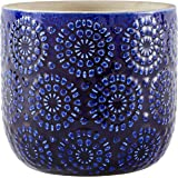 "Amazon Brand – Stone & Beam Modern Ceramic Floral Embossed Decorative Planter Flower Pot, 6""H, Blue"