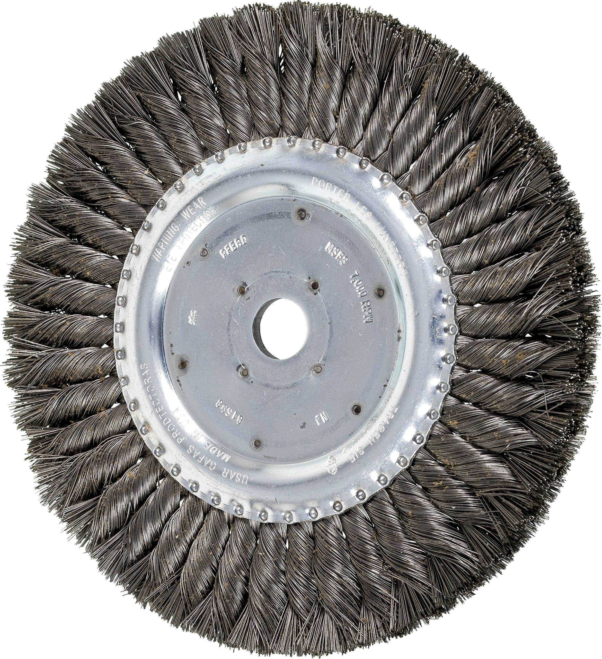 PFERD 81698 Standard Twist Knot Wheel Brush, Carbon Steel Wire, 8'' Diameter, 3/4'' Arbor Hole, 0.014 Wire Size, 1-5/8'' Trim Length, 5/8'' Face Width, 7000 RPM