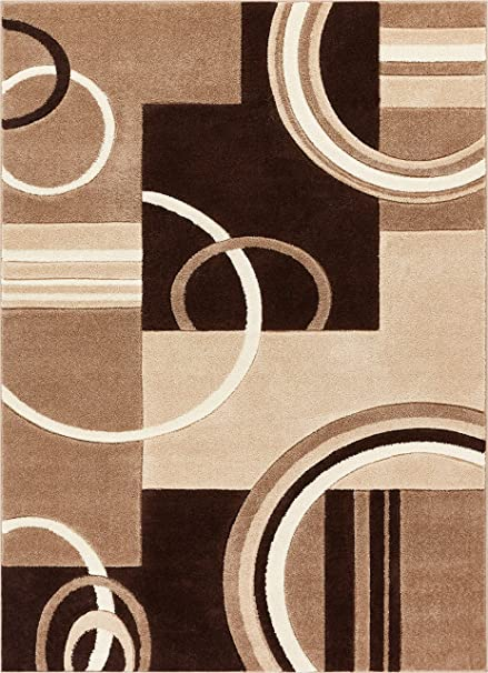 Echo Shapes & Circles Ivory / Beige Brown Modern Geometric Comfy Casual Hand Carved Area Rug 5x7 (53