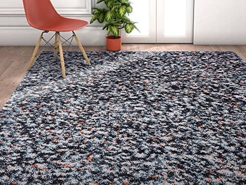 Stellar Field Black Blue Modern Abstract Geometric Shag 5 x 7 5'3″ x 7'3″ Area Rug Plush Carpet
