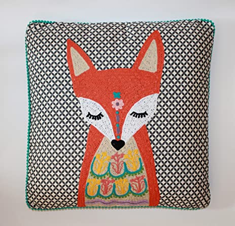 Fox Pillow Embroidered Karma Living   18u0026quot; ...