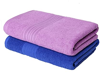 Homely 420 GSM 2-Piece Cotton Bath Towel Set - Blue and Pink