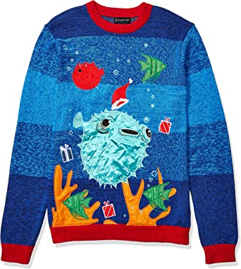 Blizzard Bay Mens Ugly Christmas Sweater Light UP Large Red//Yellow