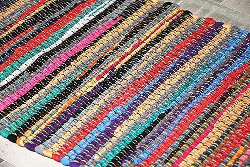 MystiqueDecors Multicolor 2×3 Door mat Rug Hand Woven Cotton Area Rug