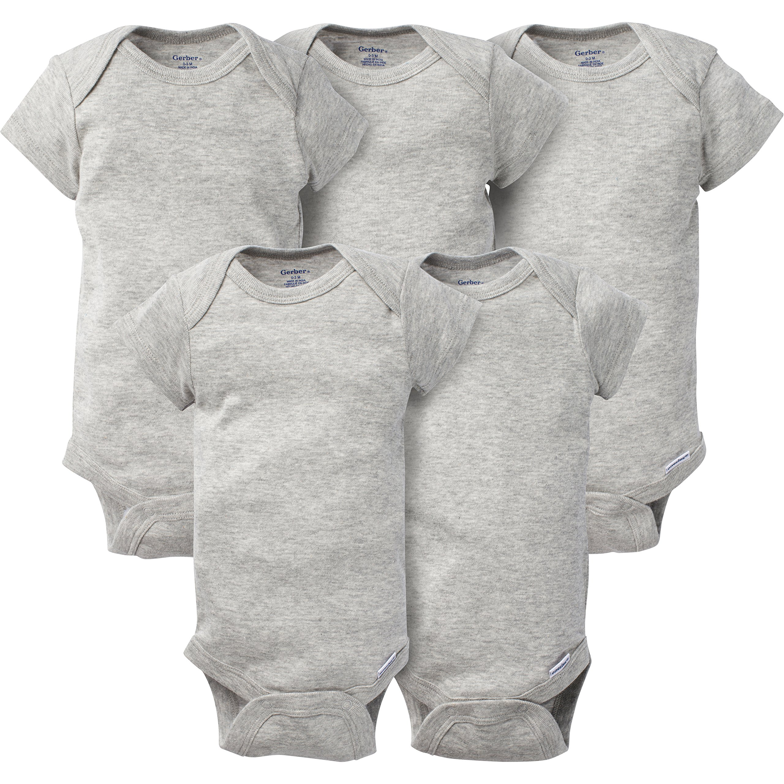 Gerber Baby 5-Pack Solid Onesies Bodysuits, Gray, 0-3 Months