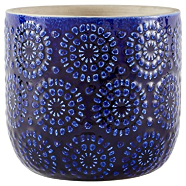 Stone & Beam Modern Cermaic Floral Embossed Decorative Planter Flower Pot - 6 x 5.5 x 6 Inches, Blue