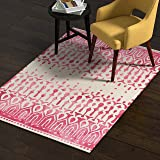 Amazon Brand – Rivet Modern Geometric Area Rug, 4 x 6 Foot, Red, Beige